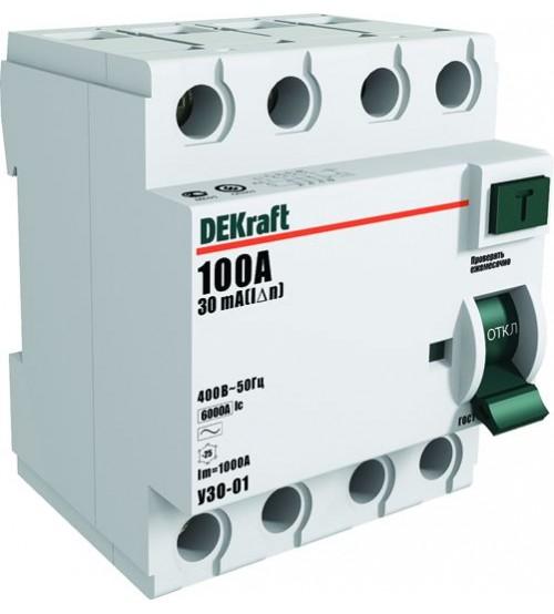 Устройство защитного отключения 4Р 32А 30мА тип АС УЗО-01 6кА (УЗО01-4Р-032А-030) DEKraft