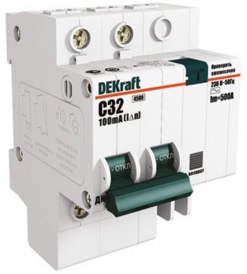 Дифференциальный автоматический выключатель 2п /32А /30мА тип AC х-ка С ДИФ-101 4,5кА 15006DEK DEKraft