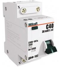 SE Дифференциальный автоматический выключатель 1п+N / 10А /30мА тип AC х-ка С ДИФ-102 4,5кА 16002DEK /уп. 6шт/ DEKraft