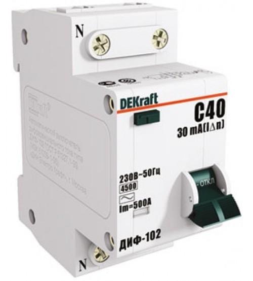 SE Дифференциальный автоматический выключатель 1п+N / 16А /30мА тип AC х-ка С ДИФ-102 4,5кА 16003DEK /уп. 6шт/ DEKraft