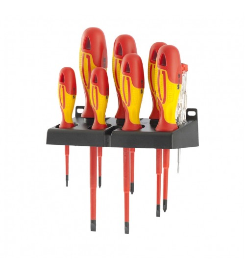 Набор отверток диэлектрических до 1000В, тестер, CrMo, двухкомпонентные рукоятки (8шт.) GROSS